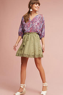 Slide View: 4: Lace Hem Skirt