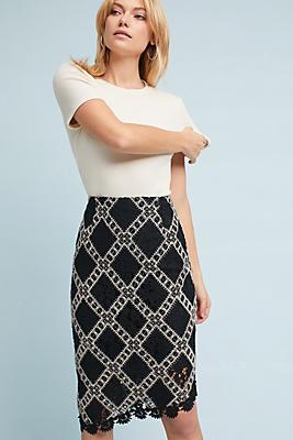 Slide View: 1: Asymmetrical Lace Skirt