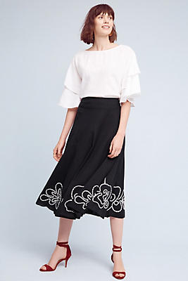 Slide View: 2: Floral Hem Midi Skirt