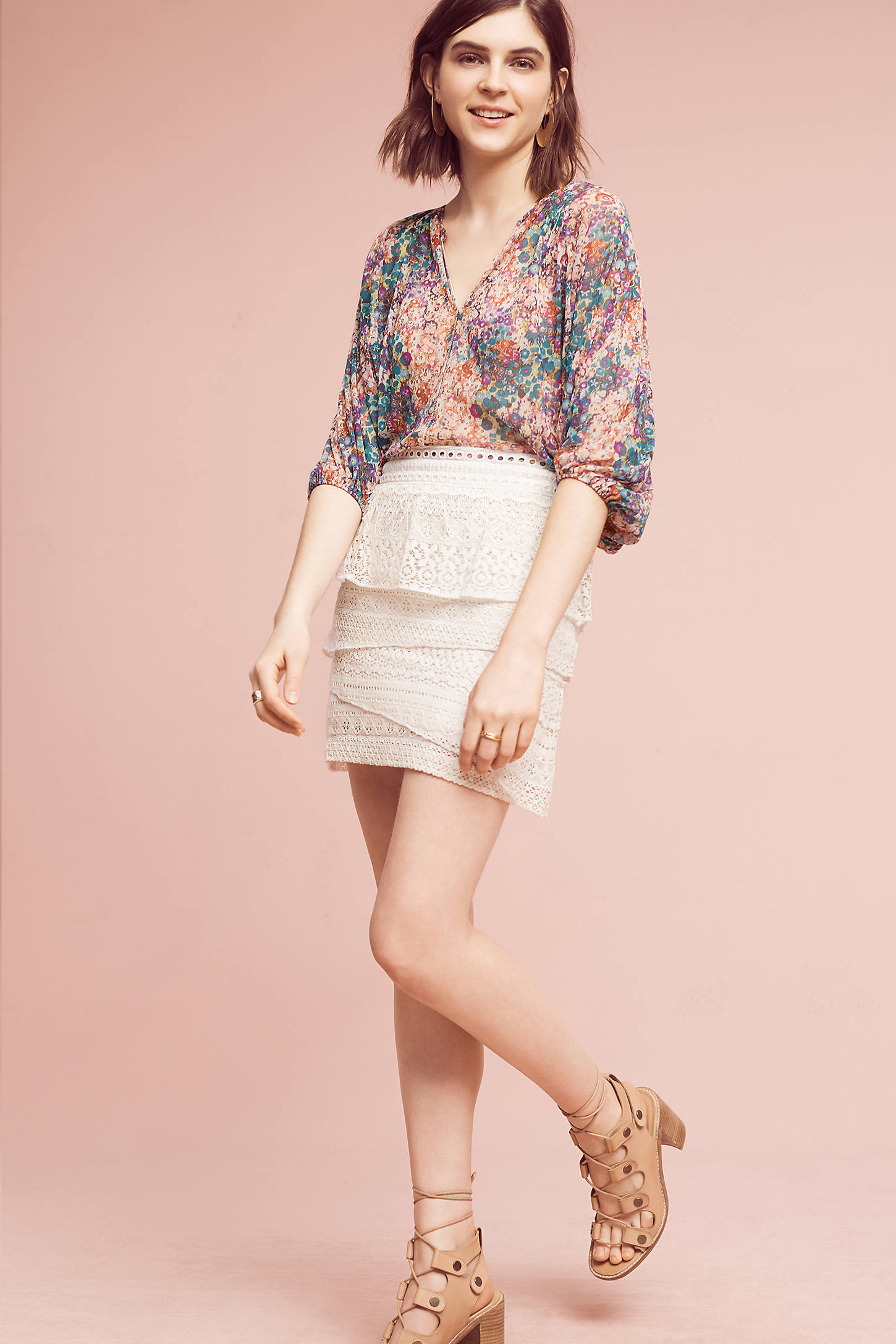Tiered Lace Mini Skirt