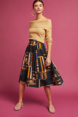 Slide View: 1: Woven Geo-Print Skirt