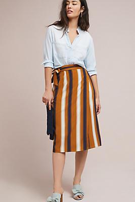 Slide View: 2: Melody Striped Wrap Skirt