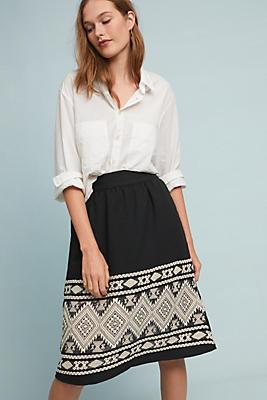 Slide View: 1: Geometric Midi Skirt