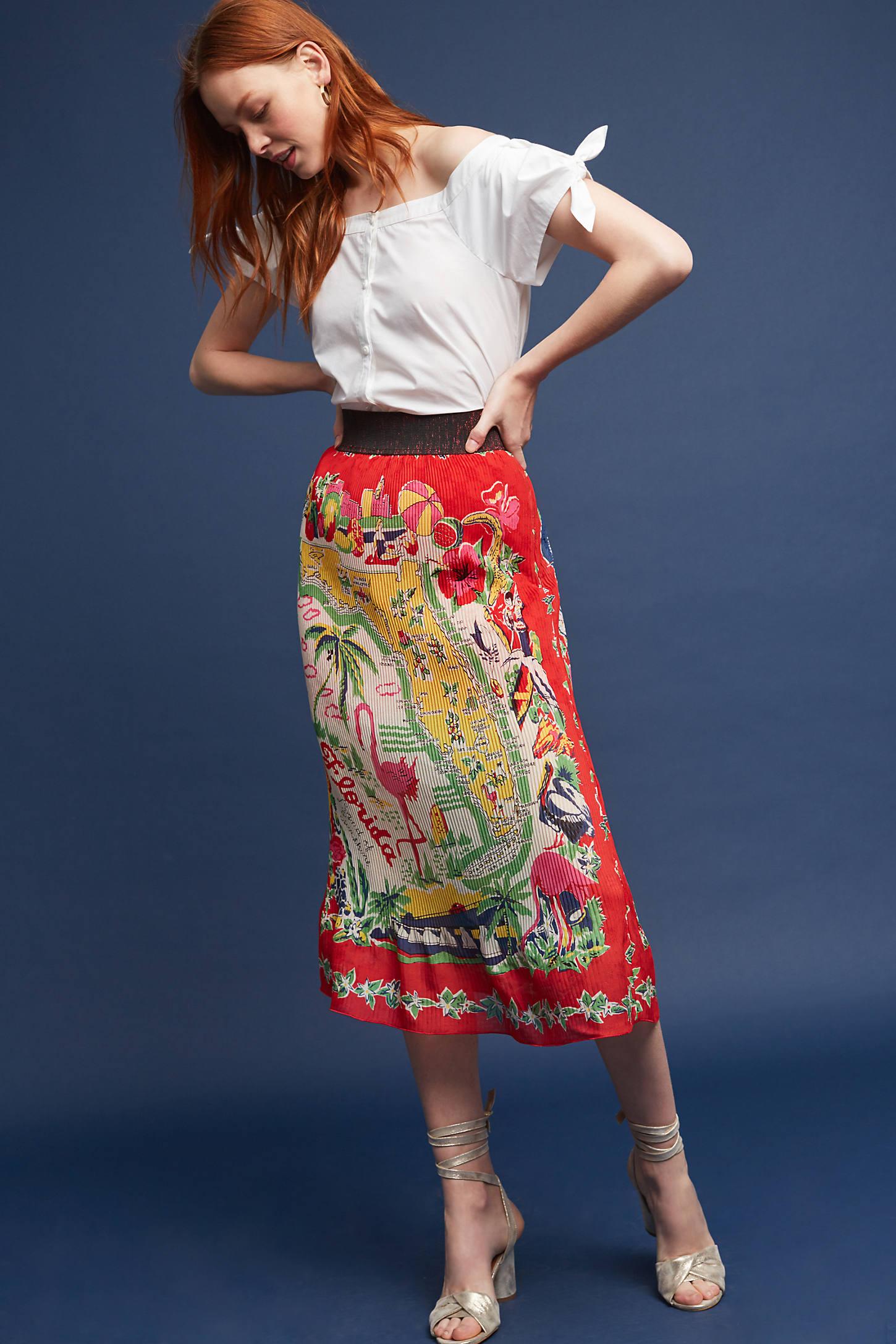 Land Of Sunshine Silk Midi Skirt