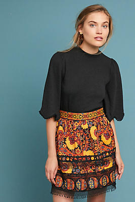 Slide View: 1: Anna Sui Lace-Trimmed Mini Skirt