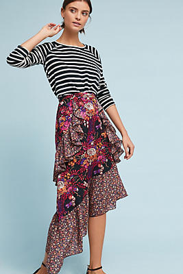 Slide View: 1: Anna Sui Silk Asymmetrical Skirt
