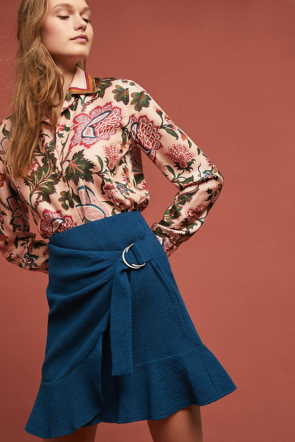 Federeka Belted-Wrap Skirt - Blue, Size Uk 12