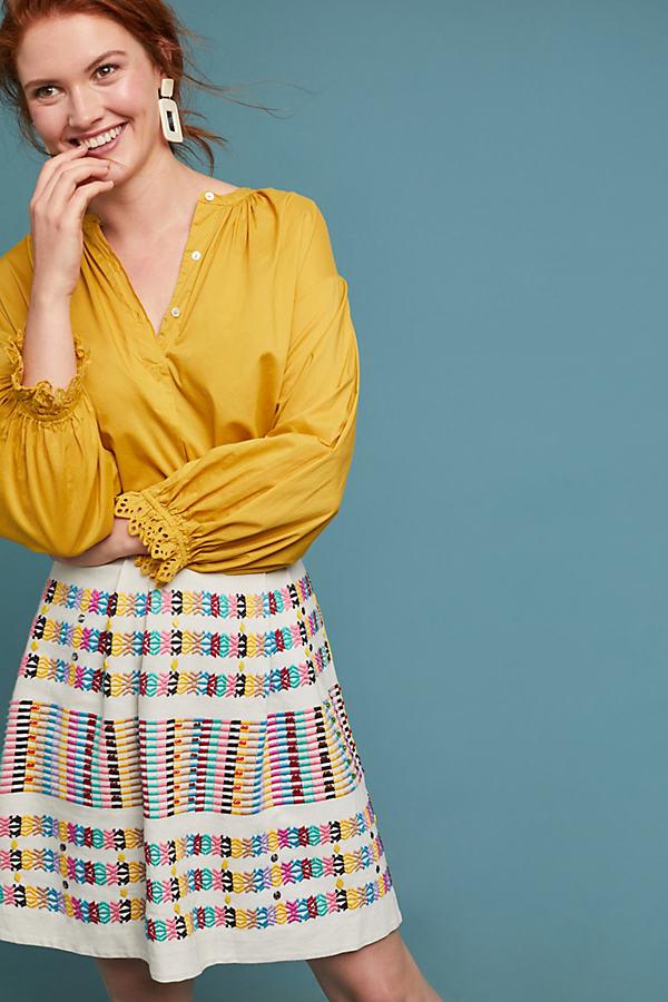 Jemima Beaded-Striped Skirt - Assorted, Size Uk 10