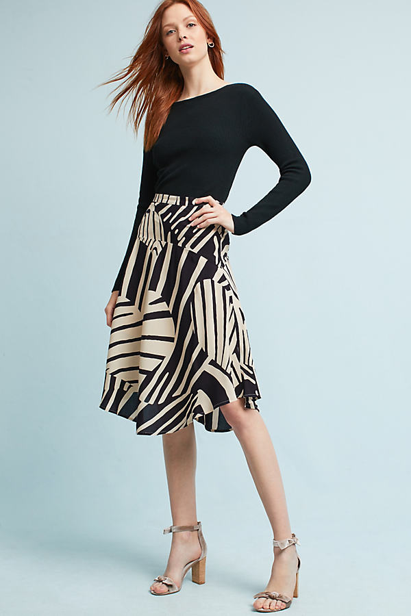 Elsbet Printed Midi Skirt - Blue, Size 14