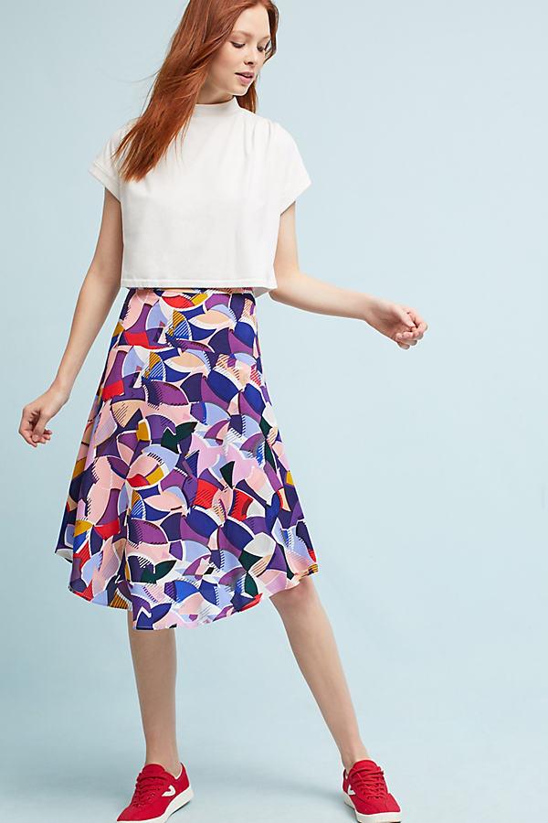 Elsbet Printed Midi Skirt - Pink, Size 14