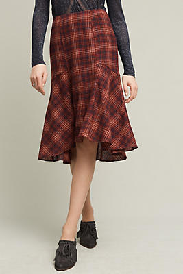 Plaid Wool Midi Skirt