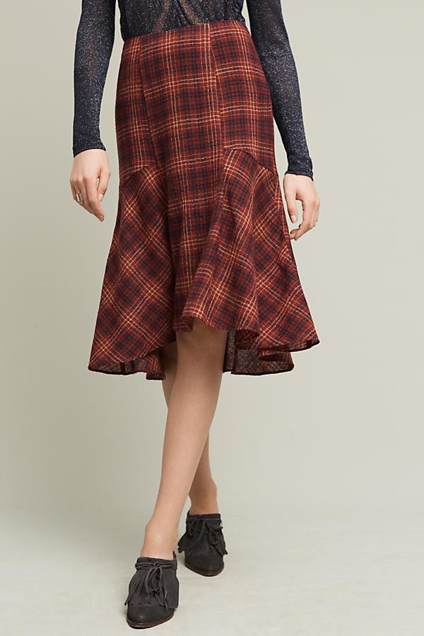 Plaid Wool Midi Skirt
