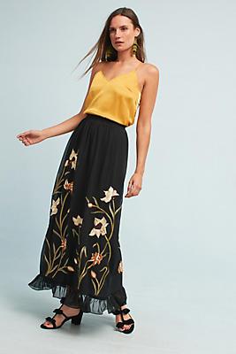 Slide View: 1: Flounced Floral Maxi Skirt