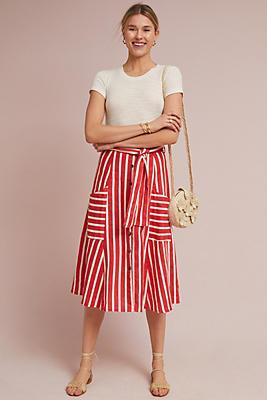 Slide View: 1: Faithfull Mazur Striped Linen Skirt
