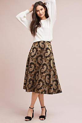 Slide View: 1: Flared Jacquard Skirt