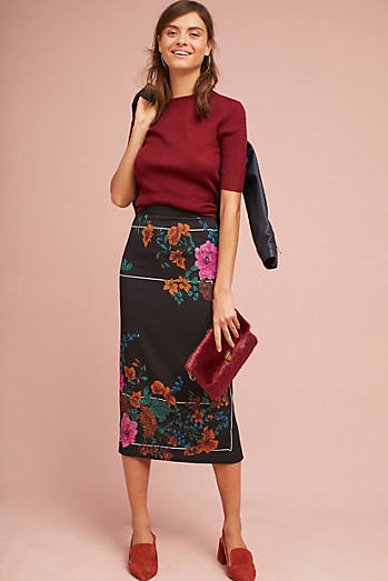 Tracy Reese Silk Floral Skirt