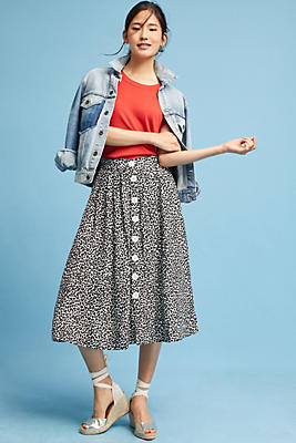 Slide View: 1: Tracy Reese Cheetah Midi Skirt