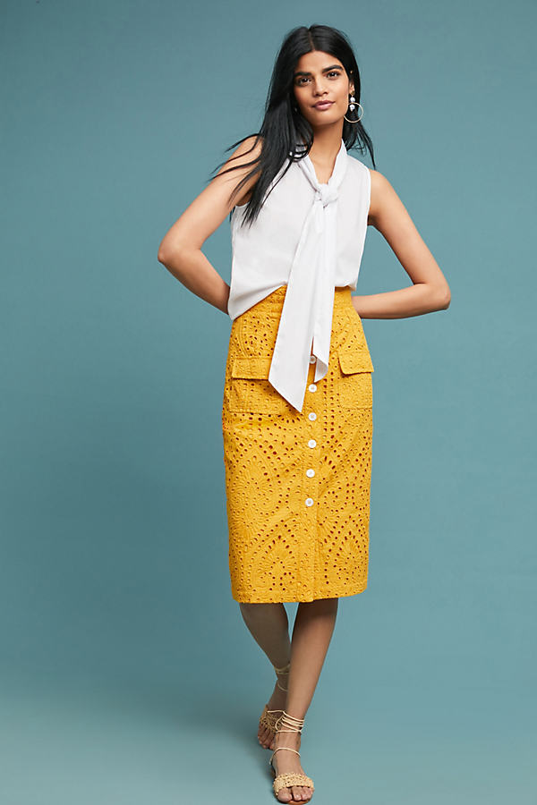 Karin High-Waisted Eyelet Pencil Skirt - Yellow, Size Uk 6