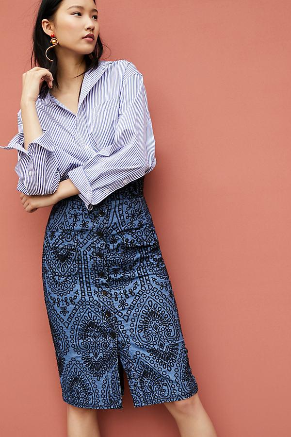 Tracy Reese High-Waisted Eyelet Pencil Skirt - Blue, Size Uk 10