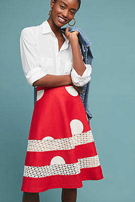 Slide View: 1: Lucille Polka Dot Skirt