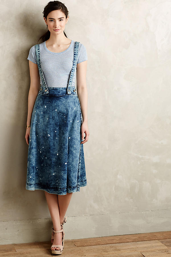 Splattered Denim Overall Skirt | Anthropologie