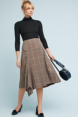 Slide View: 1: Plaid Asymmetrical Midi Skirt