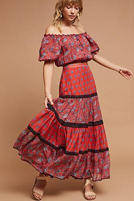 Slide View: 2: Gia Silk Maxi Skirt