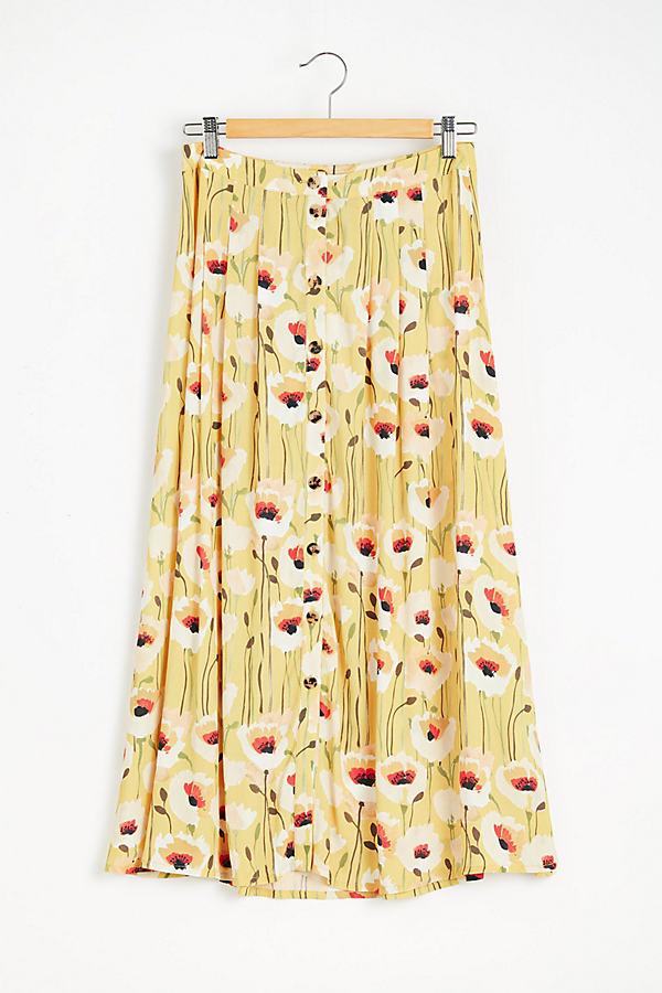 Kachel Printed Button Front Maxi Skirt