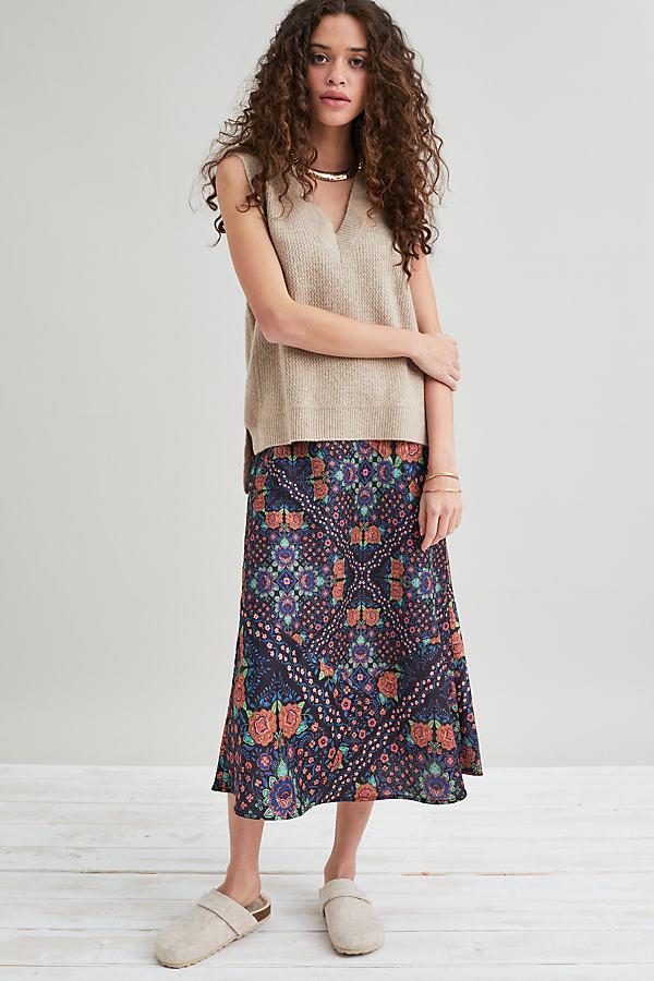 Kachel Printed Bias-Cut Midi Skirt