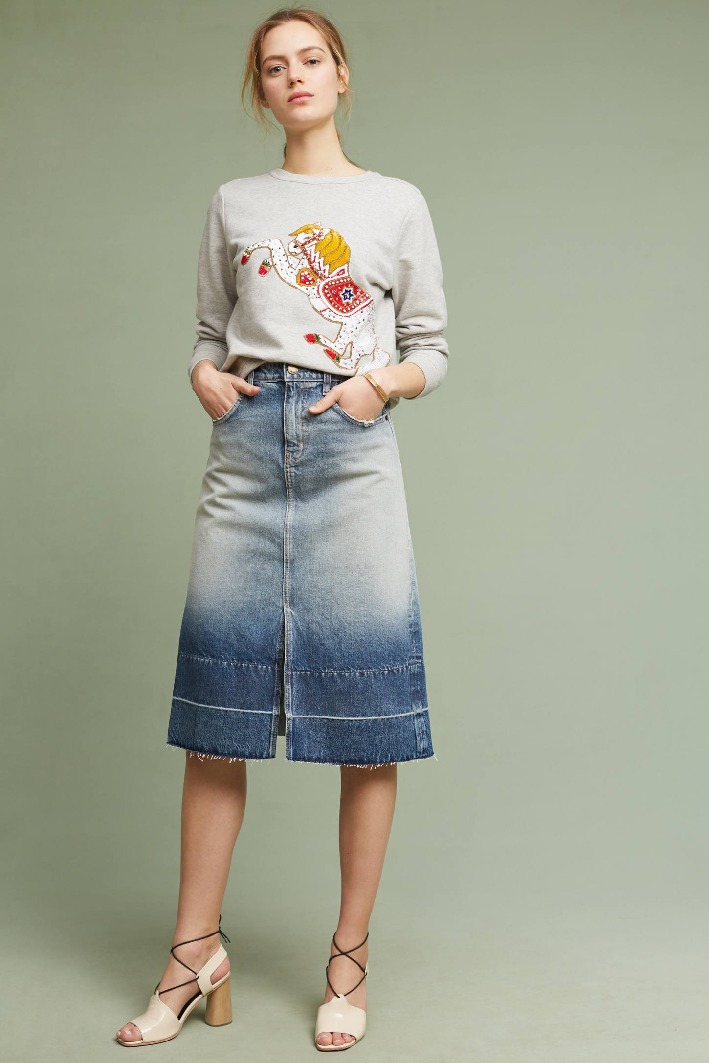 Current/Elliott The Slit Midi Denim Skirt | Anthropologie