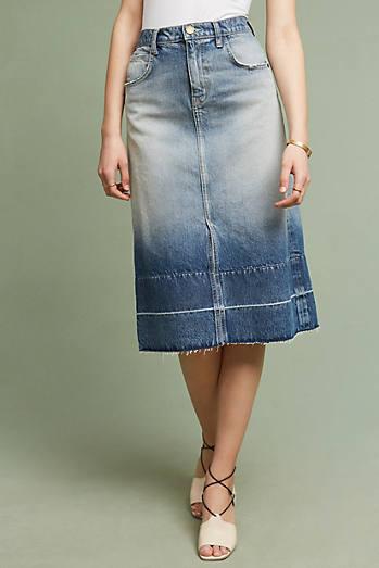 Current/Elliott The Slit Midi Denim Skirt