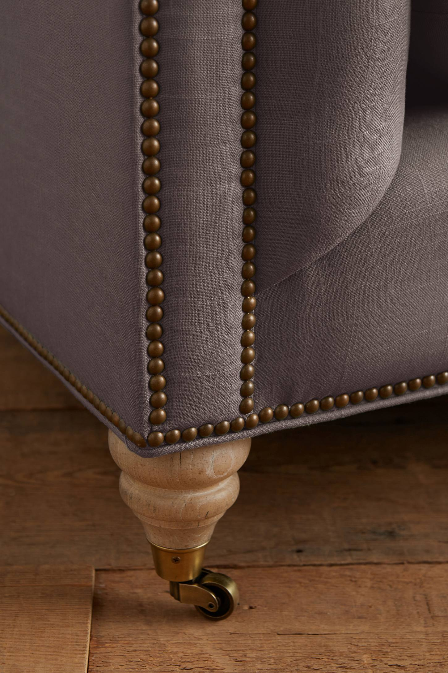 Slide View: 3: Belgian Linen Lyre Chesterfield Right Sectional, Wilcox