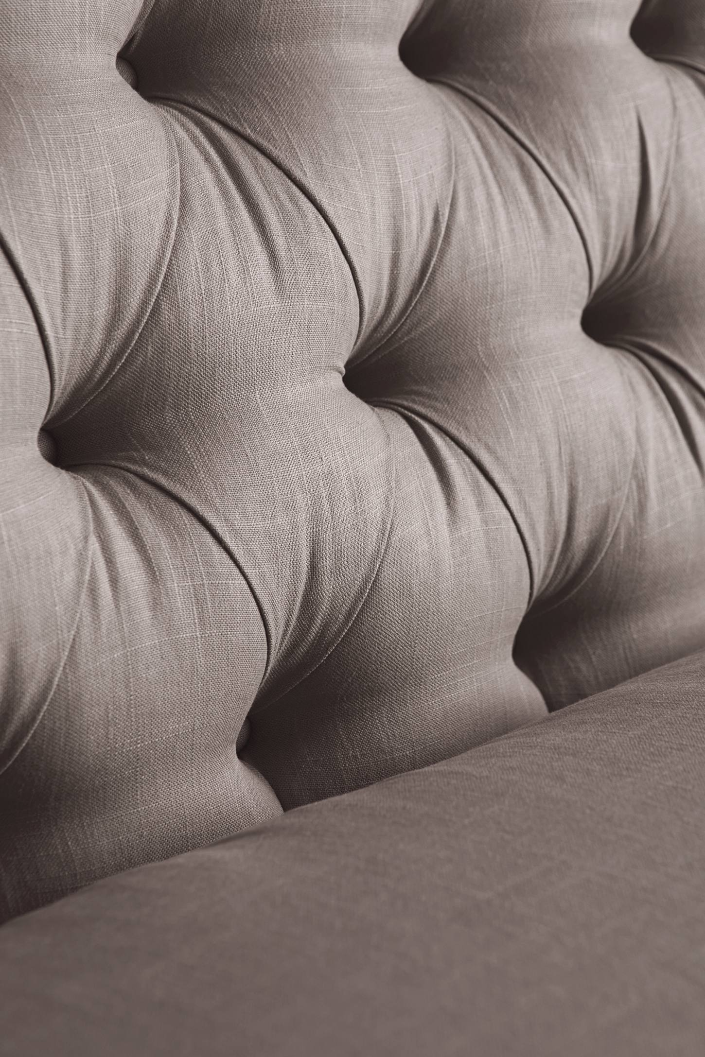 Slide View: 4: Belgian Linen Lyre Chesterfield Right Sectional, Wilcox