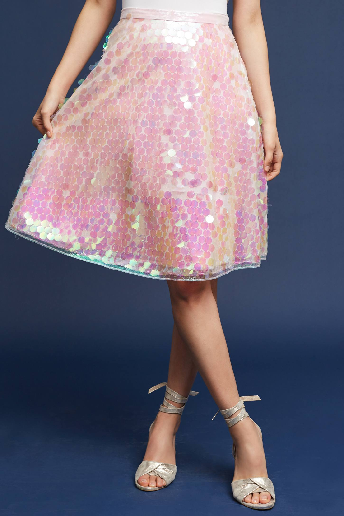 Slide View: 2: Sequined Tulle Skirt