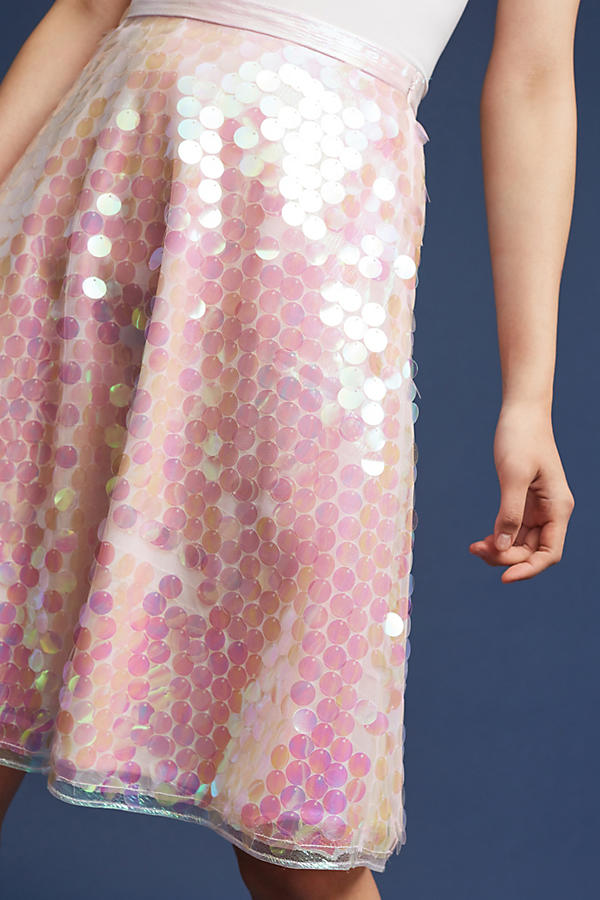 Slide View: 3: Sequined Tulle Skirt