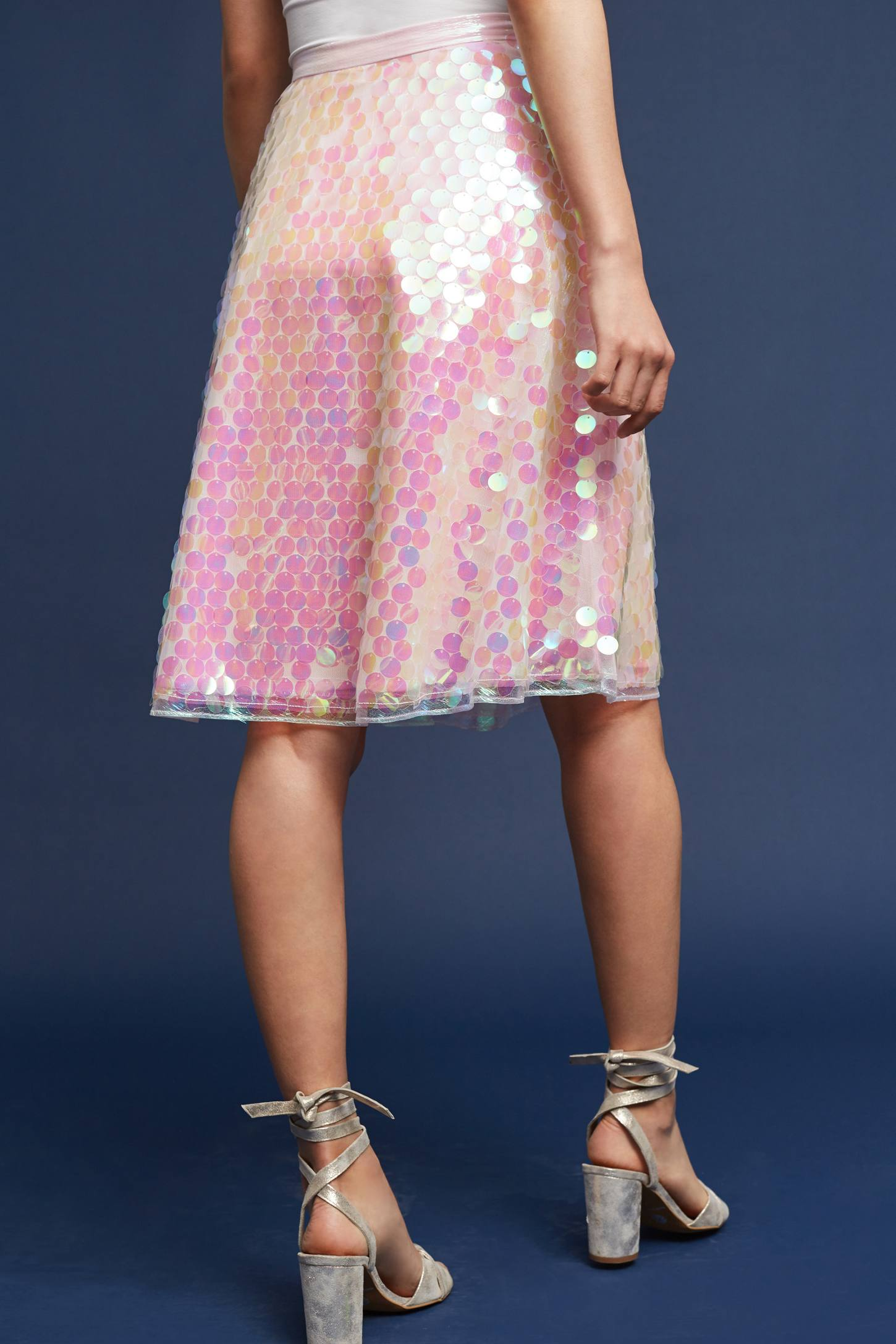 Slide View: 4: Sequined Tulle Skirt