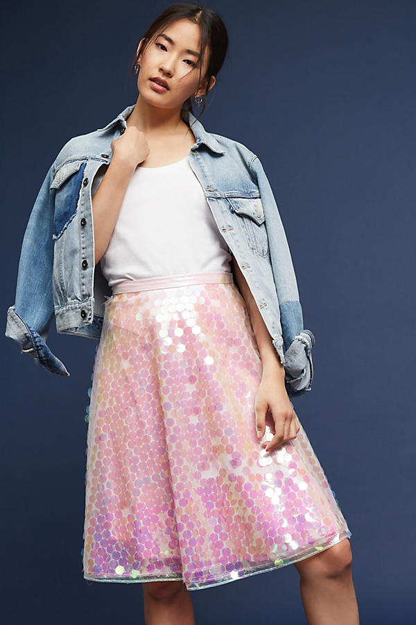 Slide View: 1: Sequined Tulle Skirt