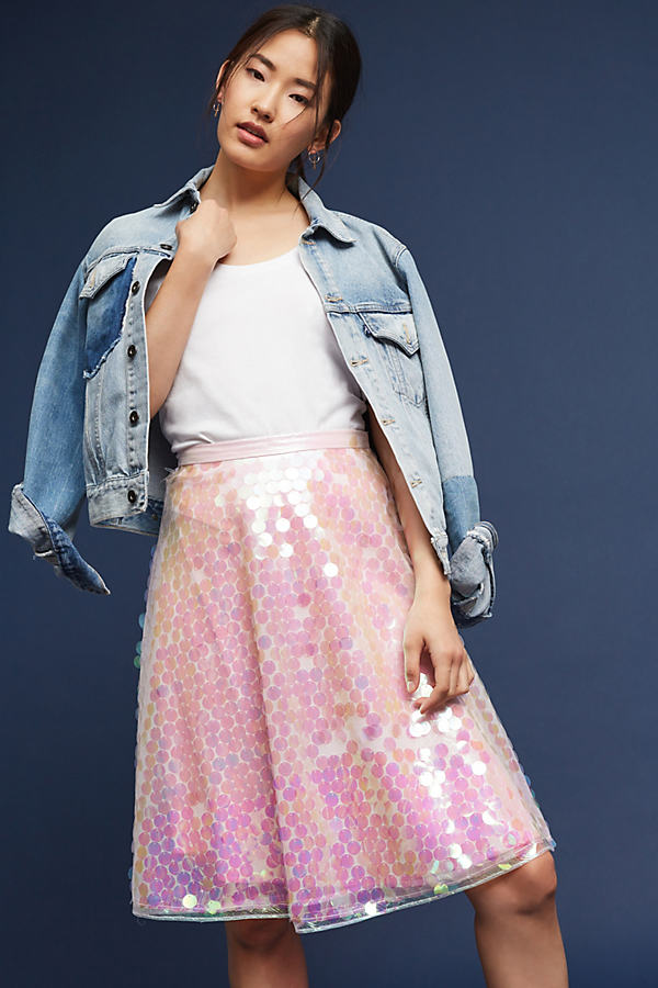 Yaryna Sequined Tulle Skirt - Pink, Size Uk12