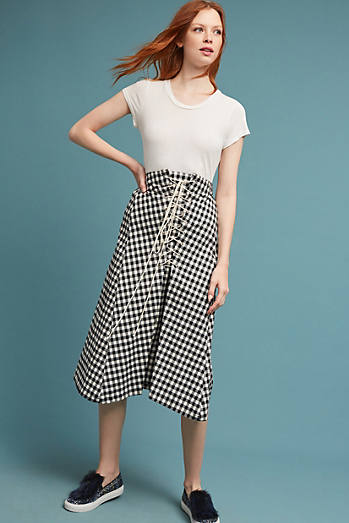 Lace-Up Gingham Skirt