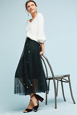 Slide View: 1: Pearl Tulle Skirt
