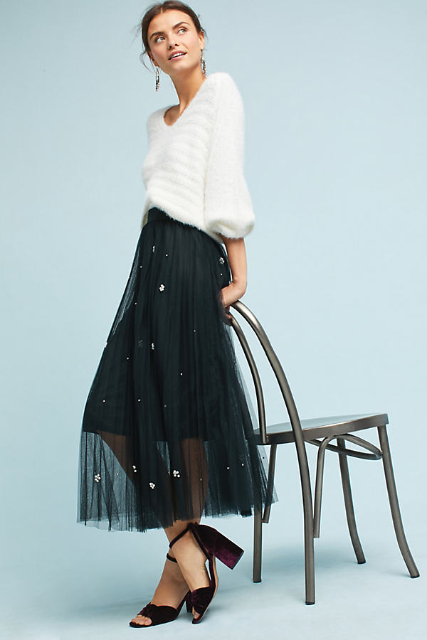 Pearl Tulle Skirt - Black, Size Xs