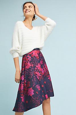 Slide View: 1: Jacquard Asymmetrical Skirt
