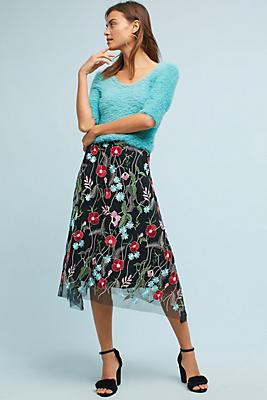 Slide View: 1: Poppy Embroidered Skirt