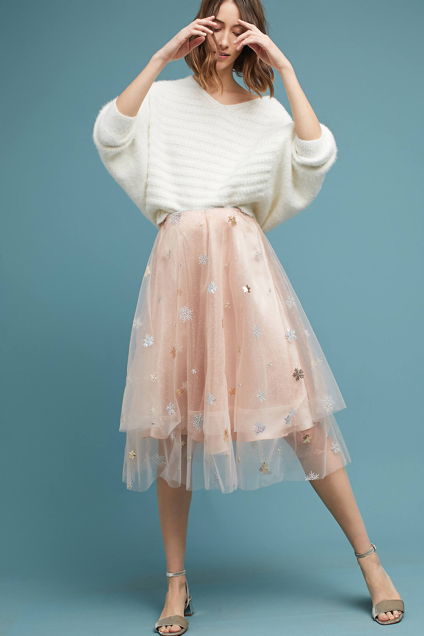 Metallic Snowflake Skirt