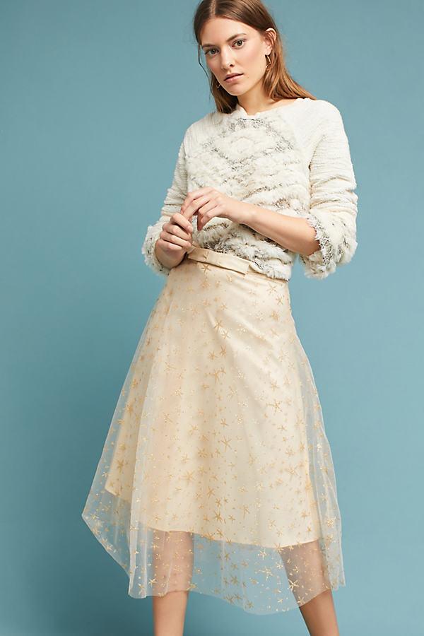 Orella Metallic Star Tulle Skirt - Pink, Size Uk 14