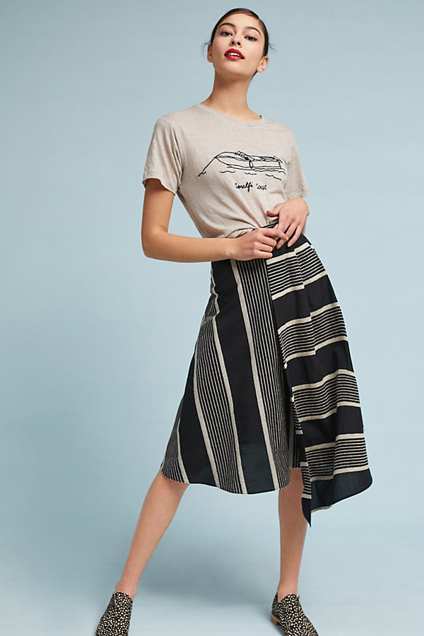 Cam Striped Midi Skirt - Black Motif, Size Uk 10