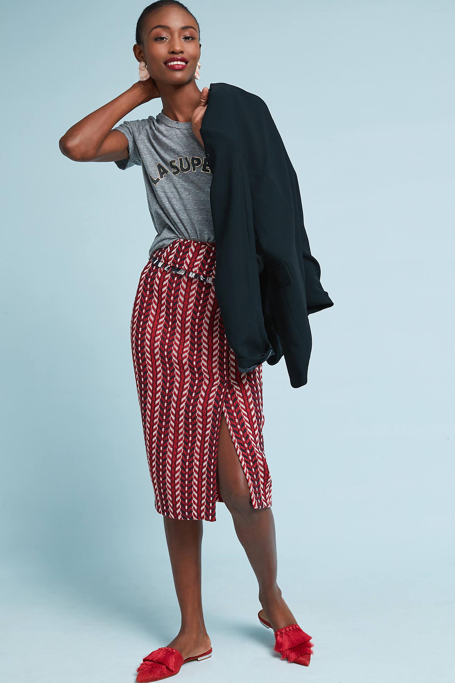 Tweed Foldover Pencil Skirt