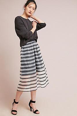 Slide View: 1: Striped Tulle Skirt