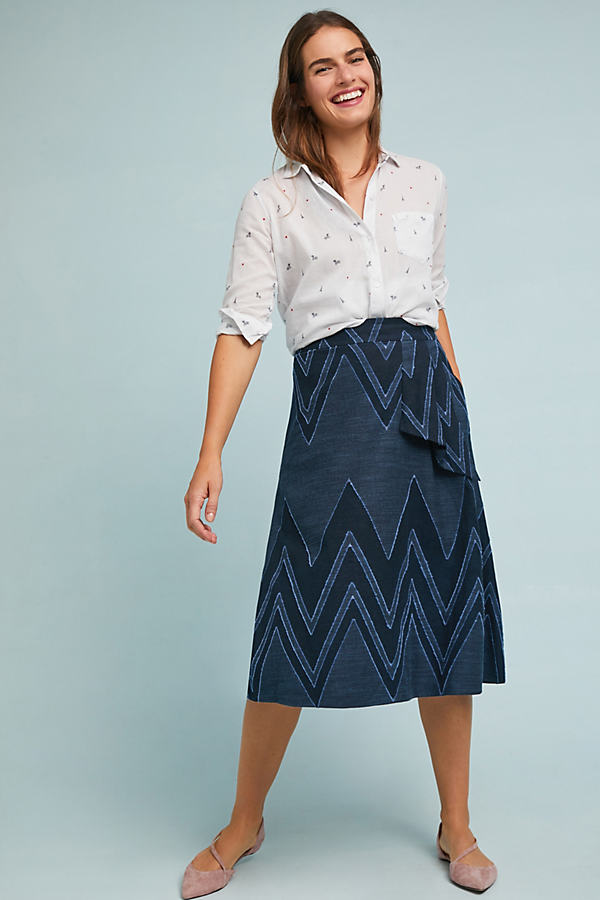 Textured-Chevron Midi Skirt - Blue, Size Uk 8