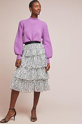 Anthropologie Grace Tiered Midi Skirt
